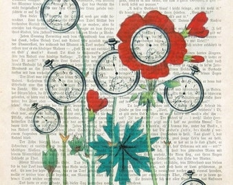SPRIGTIME art print dictionary art vintage page lifetime wall art wall decor botanical watches