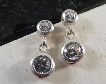 Luxurious  Cubic Zirconia Stud and Dangle Earrings  in  Sterling Silver..... Lot 4291