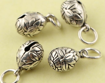 2pcs 925 Sterling Silver Lotus Bell Mala Charms, Antique Silver Bell,Bell Jewelry, Bell Pendant,Lotus Charms