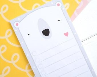 To do list - Polar bear notepad - Polar Bear list - Bear notepad - List note pad - Planner pad - Back to school - Going to University