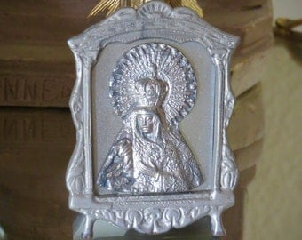 Sale- Stunning Antique VIRGIN MARY  Metal Milagro and Frame- Unique and Rare