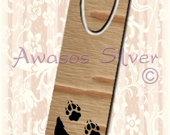 Metal bookmark with high quality printed original images. Native American birch bark with Wolf and prints design bookmark.