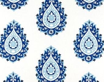 Damask Cobalt Blue White Curtain Panels 24W or 50W x 63, 84, 90, 96 or 108L Premier Prints Gunmetal Canal