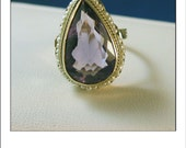 Vintage Deco 14k Pear Amethyst Seed Pearl Ring