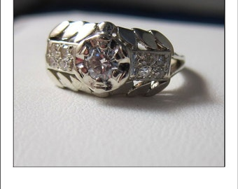 Art Deco Vintage 14k wide .50 Ct Diamond Wedding Band Ring
