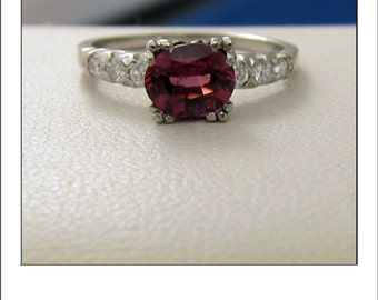 Vintage Platinum Orange Blossom Pink Tourmaline and Diamond Engagement Ring