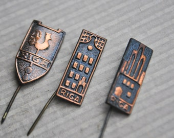 Vintage Latvian copper badges.Souvenir from Old Riga.Set of 3.