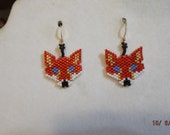 Native American Style Beaded Red and Gold Fox Animal Wildlife Earrings Southwesern, Hippie, Boho Great Gift