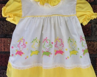 Vintage Baby GIRL embroidered Lamb dress 6-9MO
