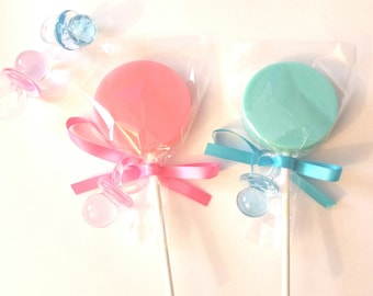 12 BABY SHOWER LOLLIPOPS with acrylic pacifier and satin ribbon - Baby Shower Favors