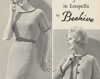 Chic Vintage 1960s Patons and Baldwins Raglan Styles in Loopella by Baldwins Two Dress Styles and Jacket Knitting Pattern Leaflet