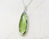 FREE SHIPPING Large Long Green Amethyst (Hydro) Tear Drop pendant Sterling Silver Necklace ZN3
