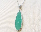 FREE SHIPPING Large Long Seafoam Chalcedony Hydro Tear Drop pendant Sterling Silver Necklace ZN3