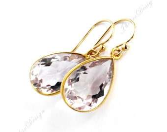 Tear Drop Pink Amethyst Light Purple Gold Bezel Gold Filled Earrings E23