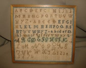 Antique 19c Alphabet SAMPLER ~10x9 Naive Primitive Framed Cross Stitch ~ 4 Rows ABC's 1 Row Numbers