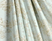 "Two 96"" x 50""  Custom   Curtain Panels - Children Toile  Central Park -  Horizon Light Blue/Taupe"
