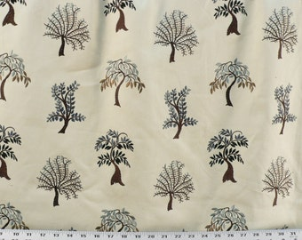 Two 14 x 24  Custom Designer Decorative Pillow Covers - Lumbar  - Embroidered Trees - Brown/Aqua/Navy/Tan
