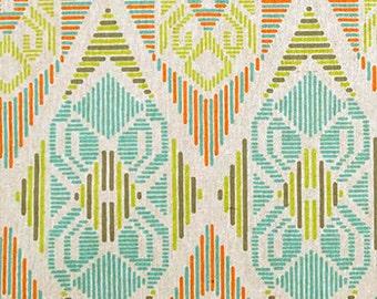 "Two 96"" x 50""  Custom Curtain Panels - Rod Pocket Panels- Geometric Aztec Southwest Diamonds - Citrine Green/ Aqua Blue/ Orange"