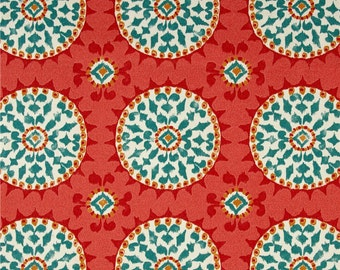 Two 20 x 20  Custom Designer Decorative Pillow Covers for Indoor/Outdoor - Suzani Circles - Red/Turquoise/Gold/Coral