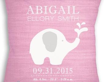 Elephant Love - Custom Baby Girl or Boy Name Throw Pillow - Nursery - Birth Announcement - Baby Boy or Girl Nursery - Newborn Gift