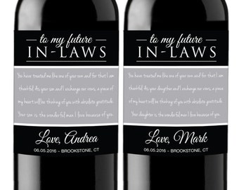 Parents of the Bride and Groom - Custom Wine Labels for Mother in Law Father in Law - Thank you Gift - WEATHERPROOF and REMOVABLE