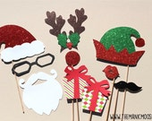 Christmas Party Props - DELUXE 10 piece set - GLITTER Photo Booth Props - Santa and Elf - Family Holiday Photos