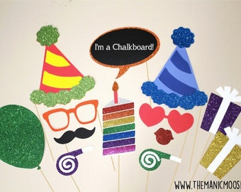 Birthday Party Photo Booth Props ~ 13 piece set ~ Red ~ Rainbow ~ Glitter ~ You Choose Balloon Number