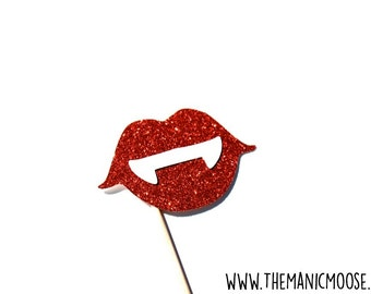 Photo Booth Props - GLITTER Vampire Fangs Photo Booth Prop