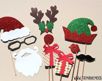 Ugly Sweater Party Props - DELUXE 10 piece set - GLITTER Photo Booth Props - Santa and Friends - Family Holiday Photos