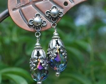"SALE""The Queens Jewels, silver earrings, crystal earrings"
