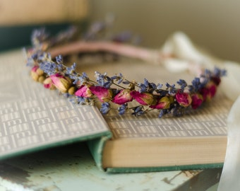 Flower Crown For Baby with Lavender and Roses - Hair Wreath / Halo -Real Dried Flowers - Newborn Photo Prop - Wedding - Flower Girl