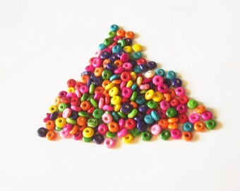 350 Wooden Rondelle Beads - Mixed Colors, Wood, Ring Beads, Pink, Fuchsia, Green, Yellow, Orange, Aqua, Purple - Light weight