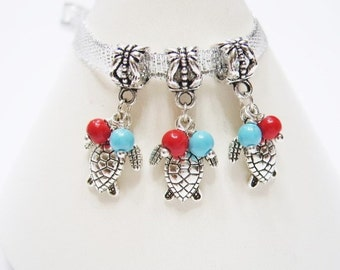 NEW Color, 3 Turquoise and Coral Red Turtles w/ Hand Wrapped Glass Pearls, European Bracelet, Dangle Charms, Tibetan Silver, Beads Euro