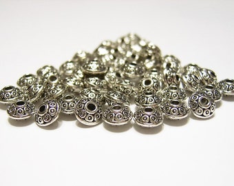 60  Tibetan Silver,  UFO Shape, Decorative, Metal, Spacer Beads, 6.5 mm  X 4 mm