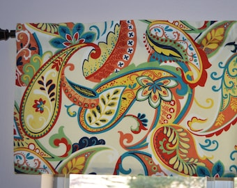 Paisley Valance . Whimsy Paisley  Multi Color  by Covington . Kitchen Valance and Pillow covers . Handmade by Pretty Little Valances