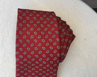 Austin Reed necktie of Regent Street London vintage tie Italian silk dark red with gray cream paisley