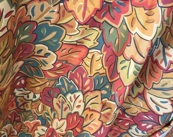 P Kaufman fabric polished cotton heavy chintz upholstery 4yd vat colors 12 color key home decorator remnant fall colors modernist leaves
