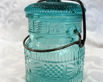 "Avon Teal Glass Canning Jar Latch Glass Lid 5 1/2"" High"
