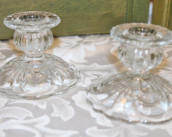 Clear Pressed Glass Candle Sticks