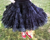 Vintage Kroenings Fashion Magic Crinoline, Black with Silver Polka Dots, VERY Full, Petticoat, Can Can