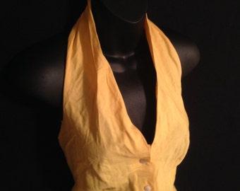 Vintage 1950s Vicki Lynn Summer Yellow Halter Top L-XL