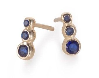 Dark Sapphire or Black Diamond 14K Gold Earrings - Minimalist Gold Earrings - Gold Studs - Multistone Elegant Gold Earrings - Dot Earrings