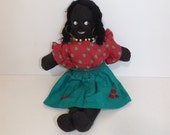 Vintage 1950s 50s handmade black doll collectable fabric soft toy with clothes