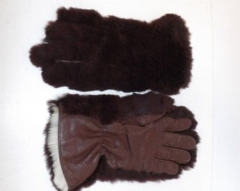 Vintage real brown rabbit coney fur and leather ladies gloves