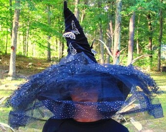 Witch Hat Black Various Design Tule, Black and Silver Butterflys