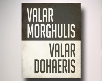 Game of Thrones Poster / Valar Morghulis Valar Dohaeris / Poster / Wall Art / TV Poster