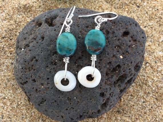 Sterling Silver, Hawaiian Puka Shell, Blue Turquoise Earrings