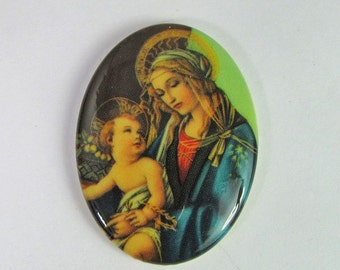 Vintage 40x30mm Mother Mary and Child Cabochon Cb96