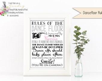 Dance Floor Rules/Wedding Print/Personalised