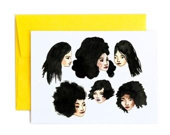 Black Hair Greeting Card, Watercolor Girls A6 Notecard